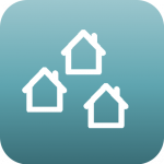 three schematic houses